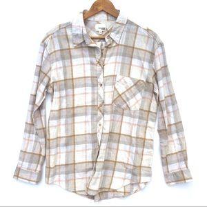 Aritzia Wilfred Free Plaid Flannel Button Up Shirt